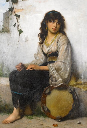 The Little Tambourine Girl by Francois Alfred Delobbe