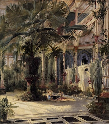 In the Palm House in Potsdam by Karl Blechen