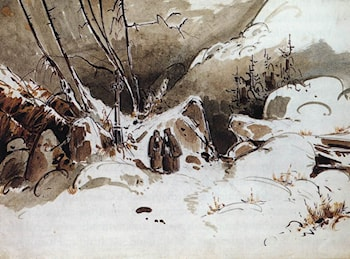 Alpine Pass in Winter with Monks by Karl Blechen