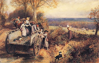 A Peep at the Hounds, Here They Come! by Myles Birket Foster, R.W.S.