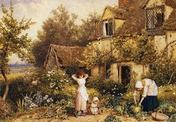 At the Cottage Door by Myles Birket Foster, R.W.S.