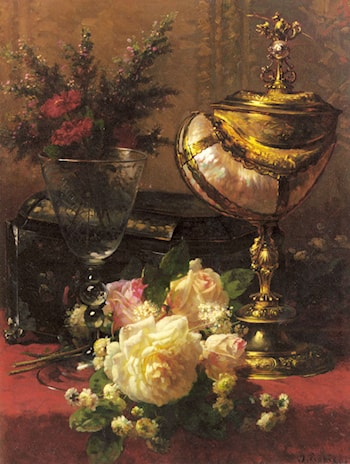 A Bouquet of Roses and other Flowers in a Glass Goblet with a Chinese Lacquer Box and a Nautilus Cup on a red Velvet draped Table by Jean-Baptiste Robie