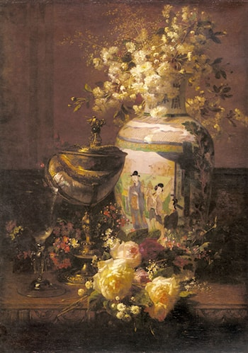 Still Life With Japanese Vase And Flowers by Jean-Baptiste Robie