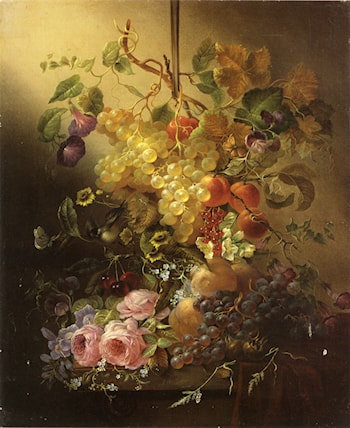Flowers, Fruit, a Bird, and Butterflies on a Table by Jean-Baptiste Robie