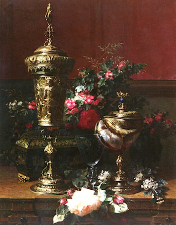 A Still Life With A German Cup, A Nautilus Cup, A Goblet An Cut Flowers On A Table by Jean-Baptiste Robie