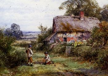 Young Anglers Beside A Stream by Henry John Sylvester Stannard
