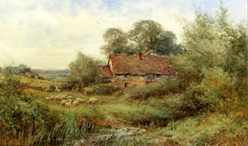 A Cottage Near Flitwick, Bedfordshire With Sheep Grazing In The Foreground by Henry John Sylvester Stannard