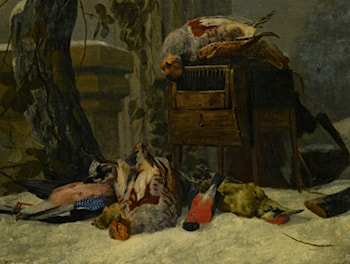 Still Life with Dead Game and Songbirds in the Snow by Peeter Boel