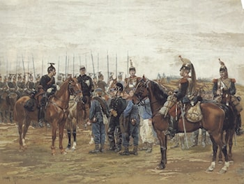 A French Cavalry Officer Guarding Captured Bavarian Soldiers by Jean Baptiste Edouard Detaille