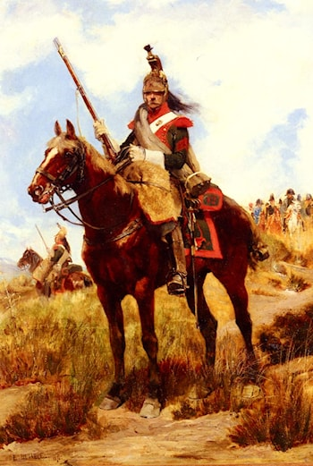 A Rank Soldier of the 12th Dragon Regiment en vedette by Jean Baptiste Edouard Detaille