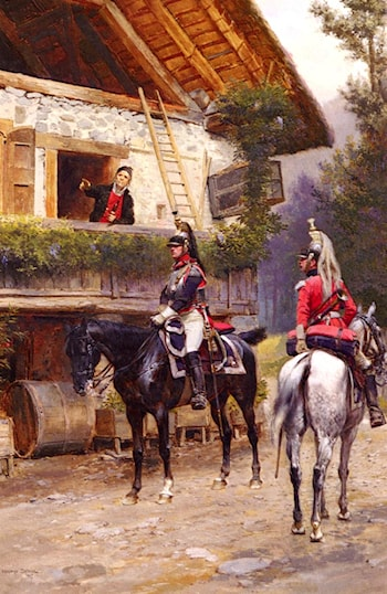 Officers from a Cuirassier Regiment in front of a Country House by Jean Baptiste Edouard Detaille