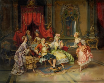 Louis XV In the Throne Room by Cesare-Auguste Detti