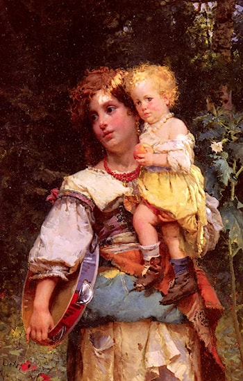 Gypsy Woman and Child by Cesare-Auguste Detti