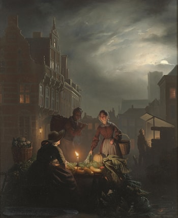 A Market Stall by Candlelight  by Petrus Van Schendel