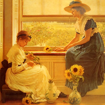 Sun and Moon Flowers by George Dunlop, R.A., Leslie