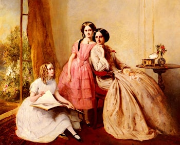A Portrait Of Two Girls With Their Governess by Abraham Solomon
