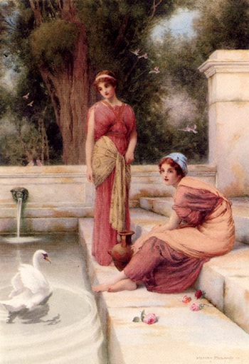 Two Classical Maidens And A Swan by Henry Ryland