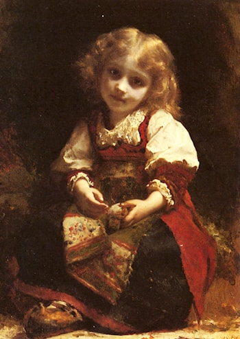 A Little Girl Holding A Bird by Etienne Adolphe Piot