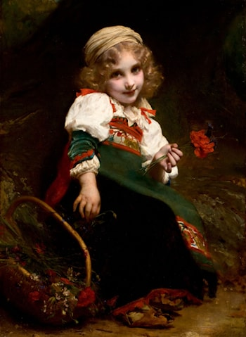 The Little Flower Gatherer by Etienne Adolphe Piot