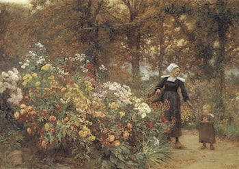 Picking Flowers by Theophile Louis Deyrolle