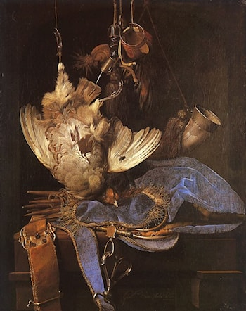 Still Life with Hunting Equipment by Willem van Aelst