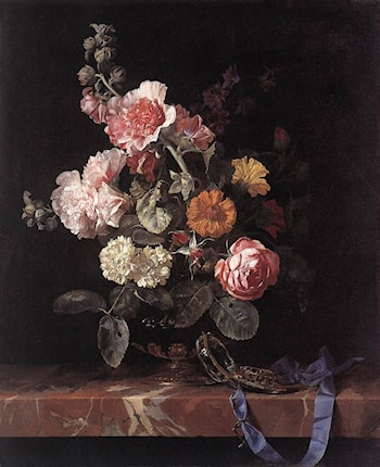 Vase of Flowers with Watch by Willem van Aelst