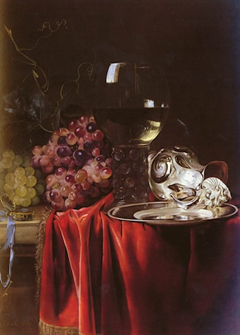 A Still Life of Grapes, a Roemer, a Silver Ewer and a Plate by Willem van Aelst