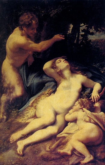 Venus and Cupid with a Satyr by Correggio