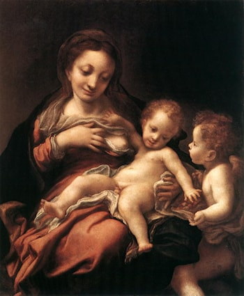 Virgin and Child with an Angel (Madonna del Latte) by Correggio