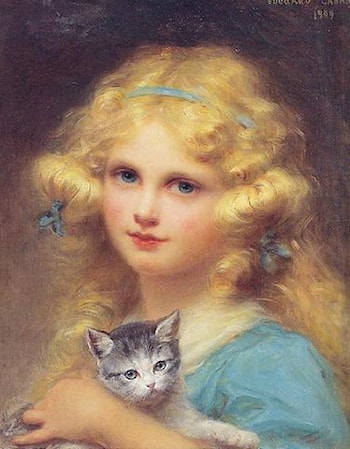 Portrait of a young girl holding a kitten by Edouard Cabane