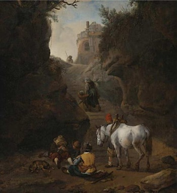 Peasants Playing Cards by a White Horse in a Rocky Gully by Philips Wouwerman