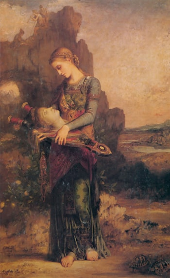 Thracian Girl carrying the Head of Orpheus on his Lyre by Gustave Moreau
