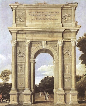A Triumphal Arch of Allegories by Domenichino