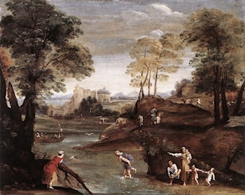 Landscape with Ford by Domenichino