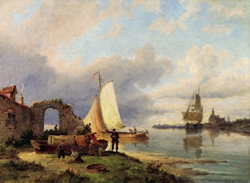 On The Spaarne, Haarlem by Pieter Christian Dommerson