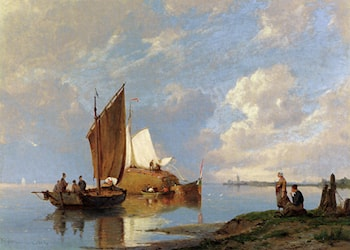 Off Volendam On The Zuiderzee by Pieter Christian Dommerson
