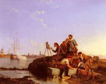 Artist at his Easel with Shipping beyond by Pieter Christian Dommerson