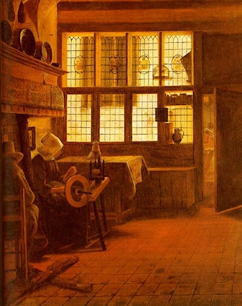 Interior with a Woman at a Spinning Wheel by Esaias Boursse
