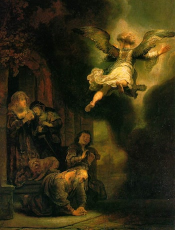 The Archangel Leaving the Family of Tobias by Rembrandt