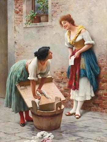 Sharing the News by Eugene de Blaas