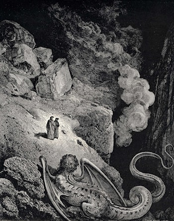 The Inferno, Canto 17, line 7: Forthwith that image vile of fraud appear'd by Gustave Dore