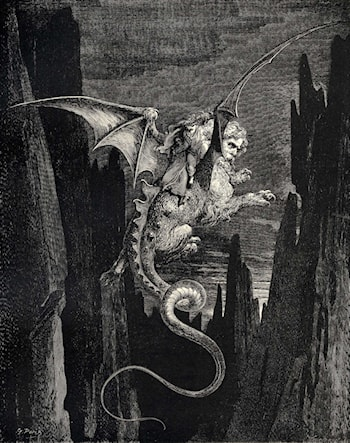 The Inferno, Canto 17, line 117: New terror I conceiv'd at the steep plunge by Gustave Dore