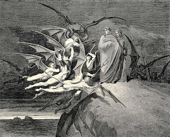 "The Inferno, Canto 21, line 70: ""Be none of you outrageous."" by Gustave Dore"