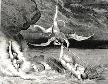 "The Inferno, Canto 22, line 70: In pursuit He therefore sped, exclaiming; ""Thou art caught."" by Gustave Dore"