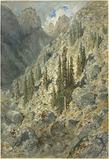 An Alpine Valley with Trees and Boulders by Gustave Dore