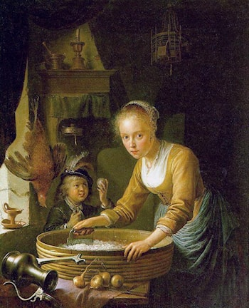 Girl Chopping Onions by Gerrit Dou