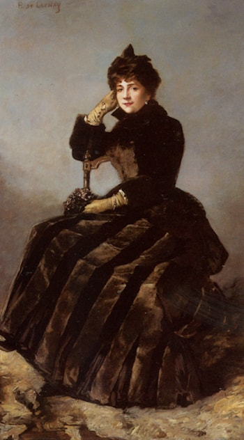 Portrait of a seated lady holding a bouquet by Fernand de Launay