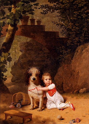 Portrait Of A Little Boy Placing A Coral Necklace On A Dog, Both Seated In A Parkland Setting by Martin Drolling
