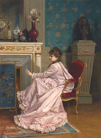 At the Fireplace by Auguste Toulmouche