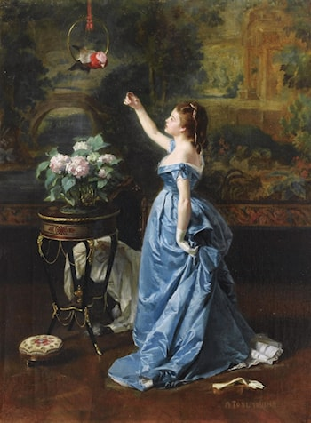 Woman with a Parrot (also known as An Exotic Companion) by Auguste Toulmouche